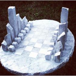 Ajedrez de mármol Blanco Carrara