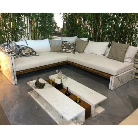Mesa de centro Diverso en Blanco Carrara + Brown